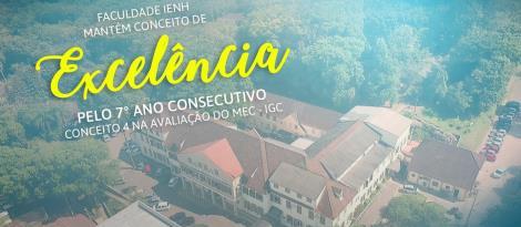 Faculdade IENH mantém conceito 4 na avaliação do MEC pelo sétimo ano consecutivo